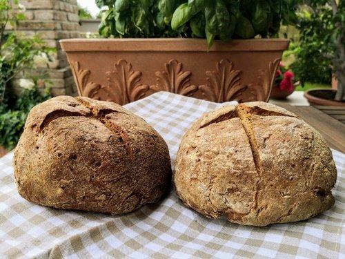 Le pagnotte di pane nero con i semi di lino