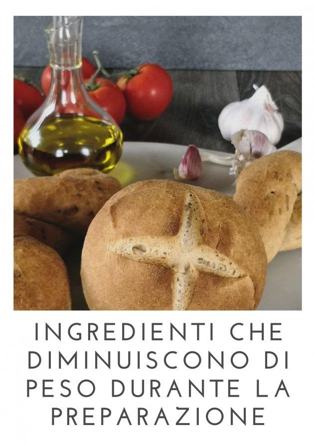 Foto di pagnotte di pane, esempio di alimento che diminuisce di peso durante la cottura.
